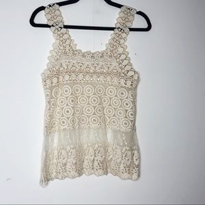 ISSI crochet and lace top. Cream colored